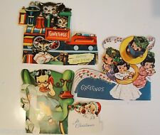 Lot of 3 Vintage 1930's FOLD OUT Adorable Christmas Cards