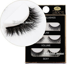 3D Black Thick Cross False Eyelashes Makeup 3 Pairs Long Fake Lashes Extension