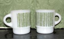 "2 Hard to Find Vintage Fire King Green ""Bar Code"" Stacking Mugs - Ships to Japan"