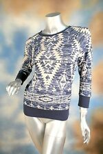 NEW $79 RALPH LAUREN southwestern faded sweat shirt Aztec blue beige SZ: S