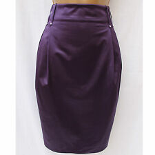 KAREN MILLEN Plum Purple Tulip Shaped High Waisted Formal Pencil Skirt 10 UK
