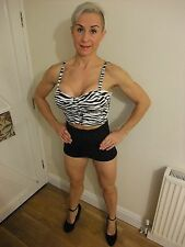 SEXY DENIM & CO ZEBRA ANIMAL PRINT BUSTIER CROP CORSET STRETCH TOP ~ UK 12