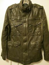 $490 Joe's Jeans Jerome Leather Olive Green Khaki Brown Motorcycle Jacket M L
