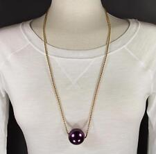 """Purple big huge faux pearl necklace bead beaded 29"""" long statement sweater gold"""
