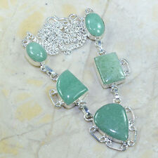 "Natural Amazonite Jasper 100% Pure 925 Sterling Silver Necklace 18.5"" #C26223"