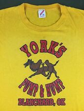 True Vintage 80s 90s York's Pump & Hump Camel Funny Graphic Yellow T-Shirt XL