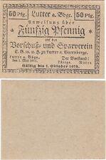 Germany 50 Pfennig 1917 Notgeld Lutter UNC Uncirculated World War 1 Era Banknote