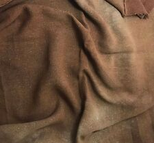 "Hand Dyed MAHOGANY BROWN Raw Silk Noil Poplin Gauze Fabric - 18""x22"" remnant"