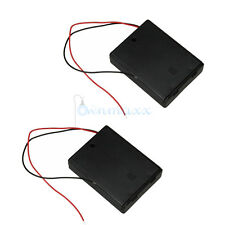 2PCS 4 AAA 3A Cells Battery 6V Clip Holder Case with ON/OFF Switcher Black DIY