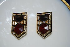 PARK LANE GOLD TONED METAL CLIP EARRINGS WITH RED AND PURPLE CRYSTALS RHINESTONE