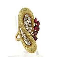 Vintage 2.65ct Diamonds & Ruby 18k Yellow Gold Textured Fancy Long Top Ring