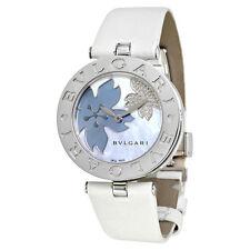 Bvlgari B.zero1 White Flower Motif Dial White Leather Strap Ladies Watch 101900