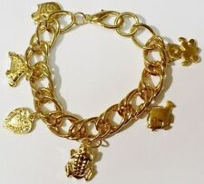 Bijou Vintage bracelet maillon gourmette couleur or pampilles animaux coeur A13