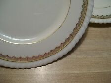 Vintage 3 Lenox Older Green Mark Cream Ivory Ribbed Scalloped Gold Trim Plates