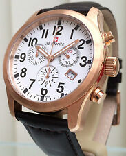 Rotary St Moritz Watch SWISS MADE Mens Rose Gold Plated Sapphire Glass RRP £250