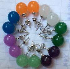 Wholesale 7 Colors 10mm Jewelry Multicolor Jade Earrings