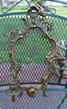 GREAT PAIR OF ANTIQUE BRONZE 2 LIGHT CANDELABRA WALL SALVAGE SCONCES