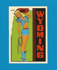 "VINTAGE ORIGINAL 1948 SOUVENIR ""WYOMING"" COWGIRL PINUP TRAVEL WATER DECAL ART"