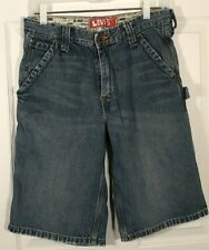 LEVIS JEAN PAINTERS CARPENTER SHORTS 16 R 28 W EXTRA LONG LENGTH DISTRESSED BOYS