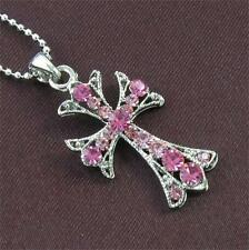 Cross Antique Style Fuchsia Pink Stones Necklace Ball Chain Pendant Silver Tone
