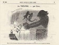 Gravure ancienne 1880  au théatre  apr Stop  XIXème