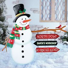 North Pole Signs Snowman Outdoor Stake Santa Workshop No Grinch Christmas Decor