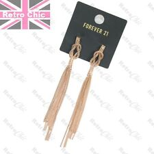 14cm long GOLD FASHION EARRINGS CHAINS fringe chain BIG gold plated WOVEN boho