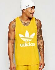 NEW ADIDAS ORIGINALS MEN'S RETRO TREFOIL BASKETBALL TANK TOP YELLOW WHITE SZ/ L