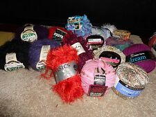 Huge Novelty Yarn Lot 14 Sk Full Skeins with Bands Assorted (Free Gift)