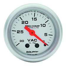 "Auto Meter Ultra-Lite Mechanical Vacuum Gauge 2-1/16"" (30 in. Hg.) 52mm"