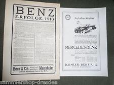 19539 2x Mercedes Benz Inserat  Anzeige Erfolge 1913   Auf allen Straßen
