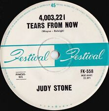 Judy Stone ORIG OZ 45 4,003,221 tears from now VG+ '64 Festival FK558 Pop