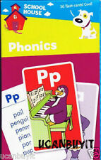 36pc Full Color School House PHONICS Learning Flash Cards Grades PreK+