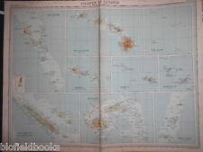 Original Antiquarian Map: Islands of Oceania c1920 Fiji, Hawaii, Tonga, Samoa +