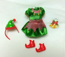 Barbie Chelsea doll clothes Christmas Santas Helper Dress Hat Elf Shoes New