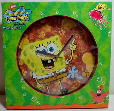 SPONGE BOB SQUARE PANTS 2005 WALL CLOCK + DESK STAND MIP UNUSED NEW WORKS RARE