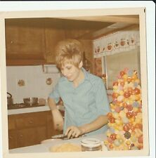 Original Vintage Photo Woman in Kitchen w/ Knife and Fake Fruit Tree 60's #P366