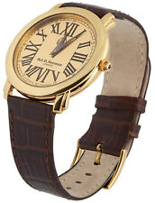 GOLD PLATED (VERMEIL) WATCH WITH LEATHER STRAP 925 SILVER  FROM ARI D NORMAN