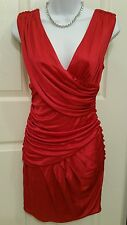 BLACK HALO Ruby Red Silky Jersey Ruched/Draped Body-Con Dress Size Small