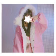 Winter New Lolita Japanese Kawaii Mori Girl Sweet Loose Hooded Pink Jacket Coat