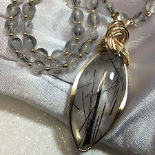 Black Tourmaline in Quartz Pendant and Matching BEADS Necklace 14k  gold-filled