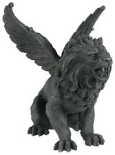 HOWLING LION GARGOYLE OPENED WINGS STATUE.COLLECTIBLE FIGURINE.GOTHIC DECORATIVE