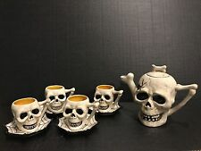 Gothic Death Skull / Blue Sky Clayworks 4 Tea Coffee cups & saucers with Tea Pot