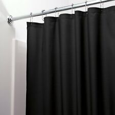 Heavy Duty Magnetized Shower Curtain Liner Mildew Resistant Vinyl (Black)