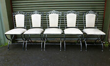 Set of 5 Metal Wrought Iron Dining Chairs with Cream Padded Seats ts