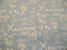 Pirate Ship Snuggle Flannel Fabric - by the yard - X Marks the Spot - Light Blue