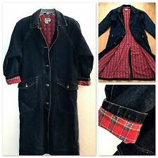 Vintage Womens Blue Denim Duster Coat, Long Duster Blue Jean Barn Coat Size M