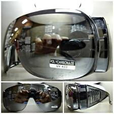 WRAP AROUND DRIVING SAFETY SUN GLASSES Over RX Glass Fit Gray Frame Mirror Lens