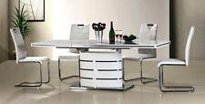 Edler Esstisch Säulentisch Hochglanz+ALU  AUSZIEHBAR bis 220cm modernes Design