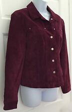 AMI Womens Fashionable Suede Leather Coat Jacket SZ M Plum Purple Button Down
